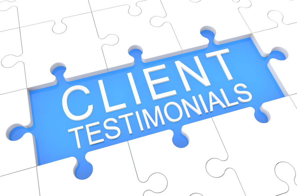 Client Testimonials - puzzle 3d render illustration with word on blue background